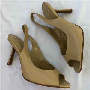 Newport News Tan Nude Slingback Retro Heels 10